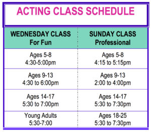 Acting Class Schedule for Website copy