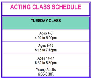 WHITTIER Acting Class Schedule for Website copy